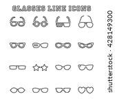 glasses line icons  mono vector ... | Shutterstock .eps vector #428149300