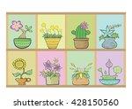 flowers in pots on the shelf.... | Shutterstock .eps vector #428150560