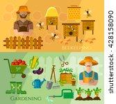 gardening and beekeeping banner ... | Shutterstock .eps vector #428158090