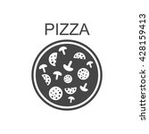 pizza with salami and mushrooms.... | Shutterstock .eps vector #428159413