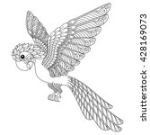 Hand Drawn Parrot. Isolated On...