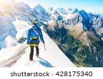 young climber reaching the... | Shutterstock . vector #428175340
