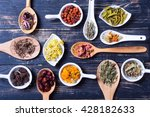 herbs   berries and flowers on... | Shutterstock . vector #428182633