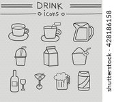 drink icons hand drawn set.... | Shutterstock .eps vector #428186158