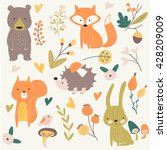 vector forest set with cute... | Shutterstock .eps vector #428209009