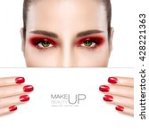 beauty makeup and nail art... | Shutterstock . vector #428221363
