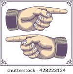 vintage hands with pointing... | Shutterstock .eps vector #428223124