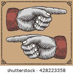 vintage hands with pointing... | Shutterstock .eps vector #428223358