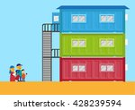 livable shipping container home ... | Shutterstock .eps vector #428239594