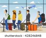 passengers in queue waiting...   Shutterstock .eps vector #428246848