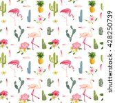 tropical flamingo bird and... | Shutterstock .eps vector #428250739