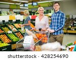 positive smiling customers... | Shutterstock . vector #428254690
