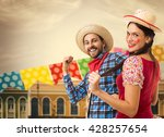 couple having fun on brazilian... | Shutterstock . vector #428257654