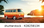 cute retro car on a summer... | Shutterstock . vector #428258134