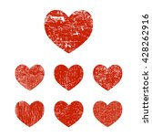 grunge hearts. set of red... | Shutterstock .eps vector #428262916
