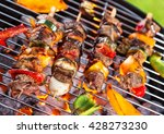 Grill With Meat Skewers Shot...