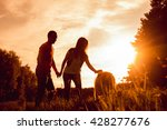 young couple with the dogs in...   Shutterstock . vector #428277676
