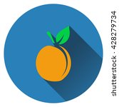 peach icon. flat design. vector ...