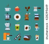 colored coffee icons set. flat... | Shutterstock .eps vector #428295649