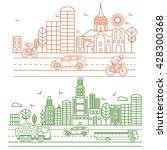 city illustration in linear