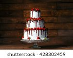 strawberry cake on a wooden... | Shutterstock . vector #428302459