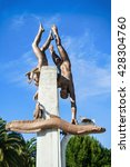 "Small photo of PITSUNDA,ABKHAZIA-MAY 22: Sculpture ""pearl divers"".The resort Pitsunda in Abkhazia on May 22,2016"