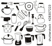 hand draw kitchen utensils... | Shutterstock .eps vector #428307223