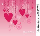 pink background with hearts on... | Shutterstock .eps vector #42830785