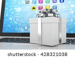 gift box with ribbon on laptop... | Shutterstock . vector #428321038
