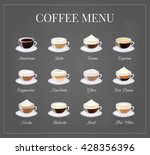 different coffee drinks on... | Shutterstock .eps vector #428356396