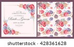 wedding invitation with peony... | Shutterstock .eps vector #428361628