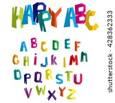 colorful alphabet with cracks.... | Shutterstock .eps vector #428362333