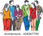 group of students teenagers... | Shutterstock .eps vector #428367790