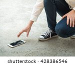 person picking broken smart... | Shutterstock . vector #428386546