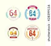 64 years anniversary set with... | Shutterstock .eps vector #428399116