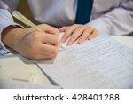 student girl write a paper.... | Shutterstock . vector #428401288
