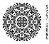 mandala. black round ornament.... | Shutterstock .eps vector #428401426
