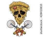 skull pizza slice. | Shutterstock .eps vector #428410810