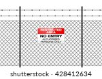 fence with barbed wire and sign ... | Shutterstock .eps vector #428412634