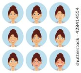 set of businesswoman emoticons. ... | Shutterstock .eps vector #428414554