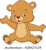 cartoon teddy bear waving hand | Shutterstock . vector #428427139
