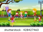 children jumping rope in the... | Shutterstock .eps vector #428427463