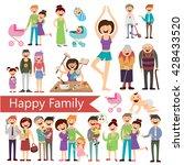 set of happy family   vector... | Shutterstock .eps vector #428433520