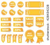 yellow sale banners  labels ... | Shutterstock .eps vector #428434228