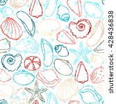 seamless pattern with hand... | Shutterstock .eps vector #428436838