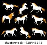 set of white unicorns on black... | Shutterstock .eps vector #428448943