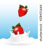 two strawberries drop to milk... | Shutterstock .eps vector #428451664