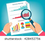 paper sheet  hands  magnifier ... | Shutterstock .eps vector #428452756