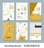 Set invitation with geometric shapes. Covers for books, postcards, notebooks, cover magazines. Hipster posters. | Shutterstock vector #428458924