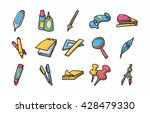 stationery and drawing icons... | Shutterstock .eps vector #428479330